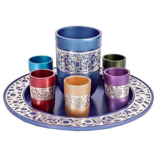 Yair Emanuel Anodized Aluminum Pomegranate Kiddush Set RRP $250 Our Price $179