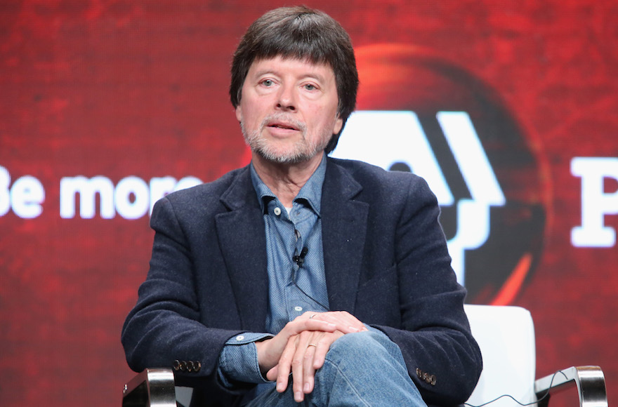 Ken Burns speaking during a 'Defying the Nazis: The Sharps' War' panel discussion at the PBS portion of the 2016 Television Critics Association Summer Tour at The Beverly Hilton Hotel, July 28, 2016. (Frederick M. Brown/Getty Images/via JTA)