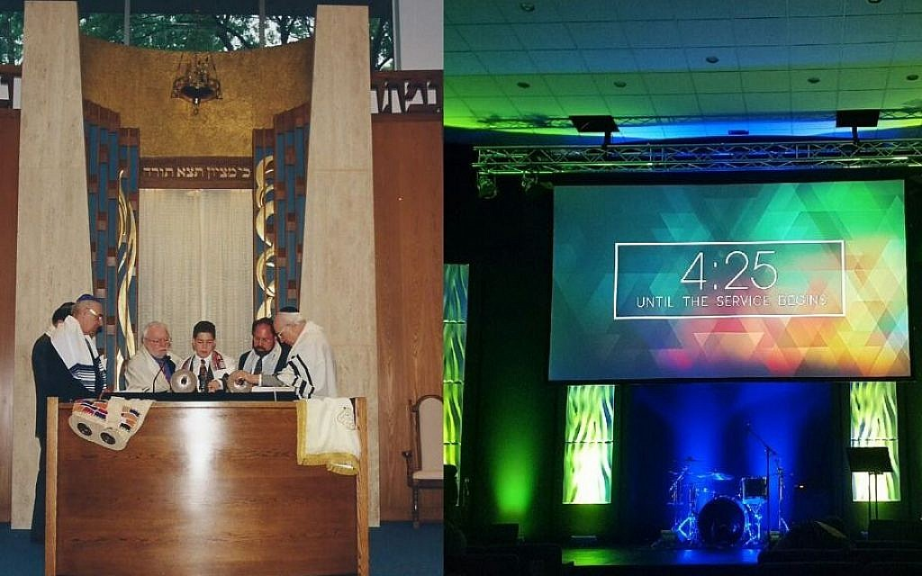 Commack Jewish Center in 1998 (left) at the bar mitzvah of Michael Weber (Courtesy: Mandi Kirschman) and (right) the same sanctuary space in July of 2016, as the new Church Unleashed (Matt Lebovic/The Times of Israel)