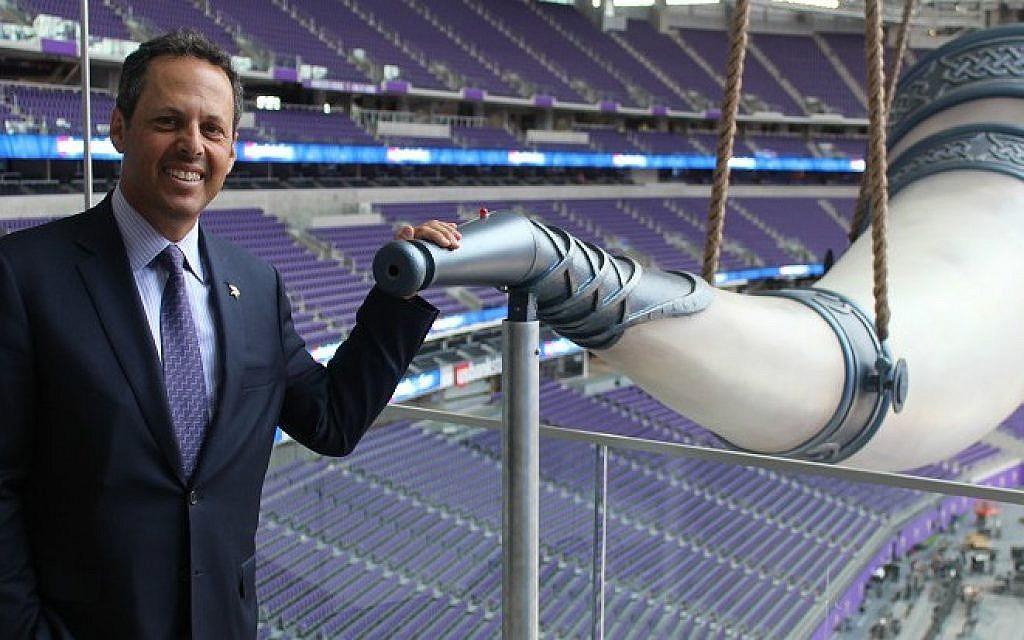 Mark Wilf, a co-owner of the Minnesota Vikings, at the team's gigantic Nordic horn in its new $1.1 billion stadium. (Hillel Kuttler/via JTA)