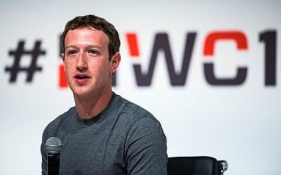 Founder and CEO of Facebook Mark Zuckerberg speaks during his keynote conference during the first day of the Mobile World Congress 2015 at the Fira Gran Via complex, in Barcelona, Spain, March 2, 2015. (David Ramos/Getty Images via JTA)
