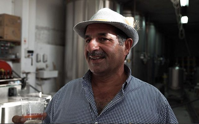 Nadim Khoury, co-founder and master brewer of Taybeh Brewery in the West Bank. September 25, 2016. (Luke Tress/Times of Israel)