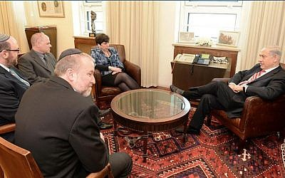 One of the many negotiation meetings leading up to the January 2016 Western Wall compromise, subsequently frozen by Netanyahu. Here at Prime Minister Benjamin Netanyahu's office, with former Cabinet Secretary Avichai Mandelblit (black jacket), Rabbi Steven Wernick, head of United Synagogue for Conservative Judaism, executive director on the Masorti Movement Yizhar Hess (glasses) , and Rabbi Julie Schonfeld, head of the Conservative movement's Rabbinical Assembly. (courtesy Yizhar Hess)