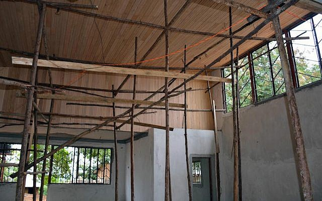 The interior of a synagogue under construction in Nabagoye, Uganda. (Courtesy of Be'chol Lashon via JTA)