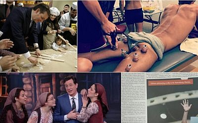 From top right, clockwise: Michael Phelps receiving a cupping treatment. (Screenshot from Instagram); Hillary Clinton in Monsey-based newspaper Yated Ne'eman (Onlysimchas.org); Stephen Colbert performing with 'Fiddler on the Roof' cast members on 'The Late Show' in New York, March 2, 2016 (Screenshot from YouTube); Ted Cruz baking matzah in Brooklyn, New York, April 12, 2016 (YouTube) (All credits via JTA)