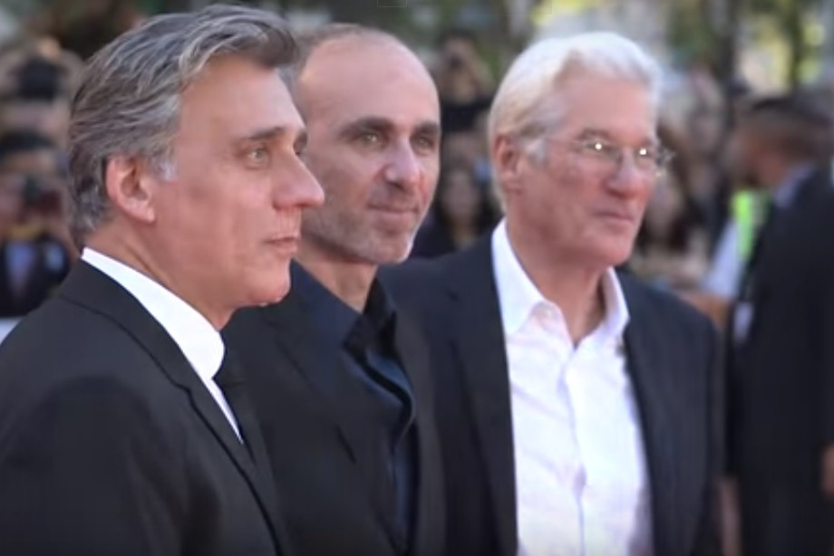 From left: Lior Ashkenazi, Joseph Cedar and Richard Gere at the premiere of Norman. (Courtesy)