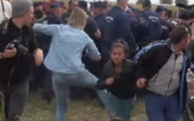 Camerawoman Petra Laszlo filmed kicking a migrant near the Hungarian-Serbian border in September, 2015. (Youtube screenshot)