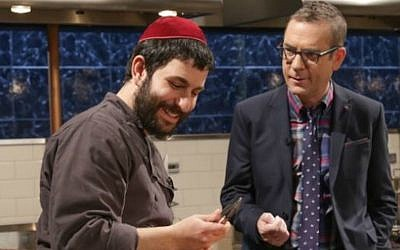 Rabbi Hanoch Hecht, left, on 'Chopped' with host Ted Allen (Courtesy of Hecht/via JTA)