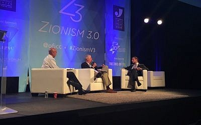 Dennis Ross, center, on a panel with Raphael Ahren, right, and Avi Issacharoff at the Zionism 3.0 conference in Palo Alto on September 18, 2016. (Sarah Tuttle-Singer/Times of Israel)