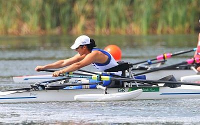 Moran Samuel in her medal-winning race in Rio, September 11, 2016 (IGOR MEIJER, courtesy Daniel Rowing Center)
