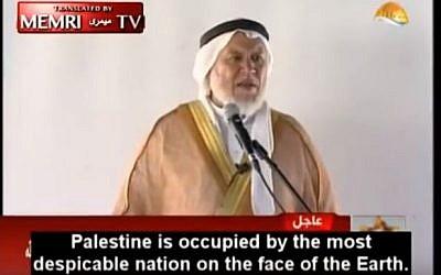 Sheikh Marwan Abu Ras delivers a speech in Gaza on August 26, 2016. (screen capture: Al-Aqsa TV/MEMRI)