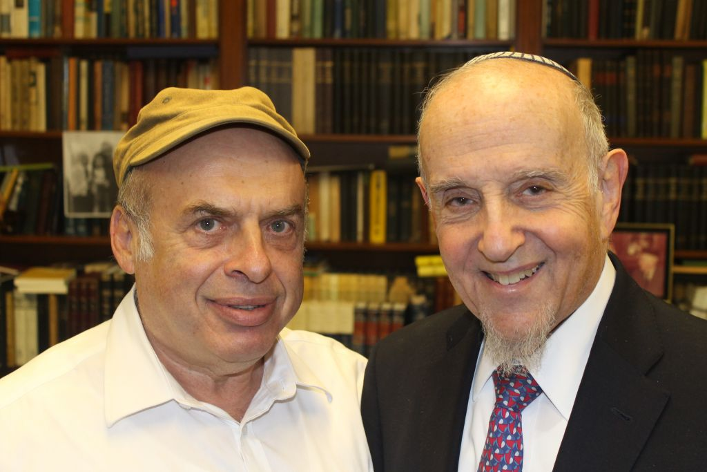 After Israel's Chief Rabbinate rejected a conversion performed by prominent modern Orthodox Rabbi Haskel Lookstein, right, Jewish Agency for Israel Chairman Natan Sharansky, left, protested on his behalf. (Ben Sales/JTA)