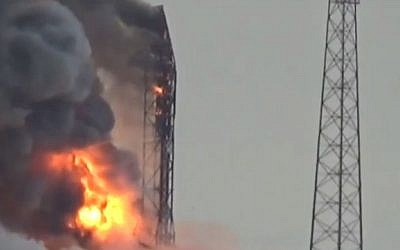 A fire blazes following an explosion that destroyed a rocket and its Israeli satellite payload at a launch pad at Cape Canaveral, Florida on September 1, 2016 (screen capture: YouTube)