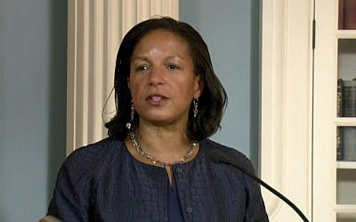 US National Security Advisor Susan Rice at the signing ceremony of a $38 billion defense aid deal with Israel at the State Department on September 14, 2016 (screen capture: State Department livestream)