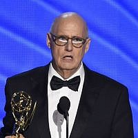 "Jeffrey Tambor accepts the award for outstanding lead actor in a comedy series for ""Transparent"" at the 68th Primetime Emmy Awards, September 18, 2016, at the Microsoft Theater in Los Angeles. (Photo by Chris Pizzello/Invision/AP)"