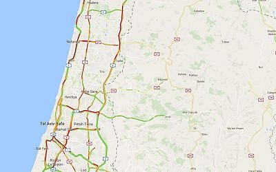 A snapshot of heavy traffic north of Tel Aviv at 7:20 a.m. on September 4, 2016. (screen capture: Google Maps)