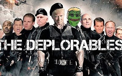 A movie poster parody posted on Instagram on Sept. 11 2016 by Donald Trump Jr. and including Trump Jr., third from right, his father, Republican nominee Donald Trump, and Pepe the Frog, a symbol adopted by white supremacists. (Screenshot from Instagram via JTA)