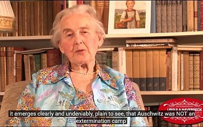 German Ursula Haverbeck speaks in a YouTube video denying Auschwitz served as a death camp in 2014. (screen capture: YouTube)
