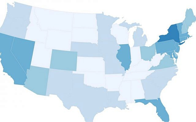 Screen shot of an interactive map by the American Jewish Population Project breaks down the Jewish population by state and even county. (American Jewish Population Project)