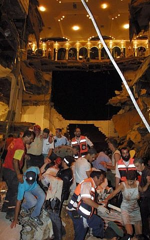 The scene where 23 people were killed and hundreds injured after a dance floor collapsed at a wedding party at the Versailles wedding hall in Jerusalem, May 25, 2001. (Photo by FLASH90)