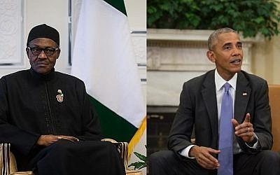 Nigerian President Muhammadu Buhari and US President Barack Obama. (CC BY 4.0 Erfan Kouchari/Wikipedia; Nicholas Kamm/AFP)