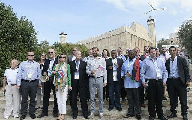 18 pro-Israel parliamentarians visit Hebron on October 19, 2016 (Avi Hayoun/Courtesy)