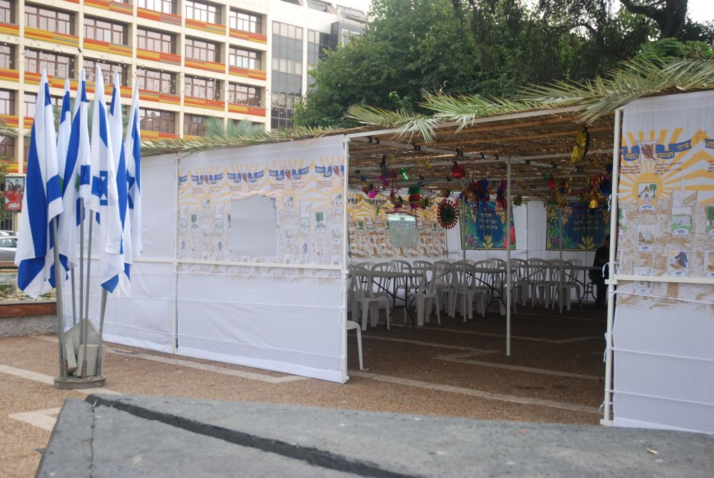 Seeking a sukkah in Tel Aviv? There's one in Rabin Square, with tables, chairs and lighting for anyone who needs to use it (Courtesy City of Tel Aviv-Jaffa)