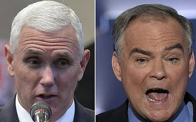 This combination of pictures created on October 3, 2016 shows Republican Vice Presidential nominee and running mate Mike Pence(L) speaking during the Midwest Vision and Values Pastors and Leadership Conference at the New Spirit Revival Center in Cleveland Heights, Ohio on September 21, 2016,and US Democratic Nominee for Vice President Tim Kaine speaking during the Democratic National Convention at the Wells Fargo Center in Philadelphia, Pennsylvania, July 27, 2016.(AFP PHOTO / MANDEL NGAN AND SAUL LOEB)