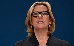 British Home Secretary Amber Rudd delivers a keynote address on the third day of the annual Conservative Party conference at the International Convention Centre in Birmingham, central England, on October 4, 2016. (AFP PHOTO / BEN STANSALL)
