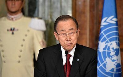 UN Secretary General Ban Ki-moon speaks during a press conference in Rome, October 6, 2016. (AFP/Alberto Pizzoli)