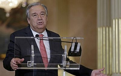 United Nations general secretary nominee Antonio Guterres speaks to the press in Lisbon, October 6, 2016. (AFP/JOSE MANUEL RIBEIRO)