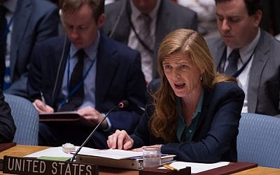 United States Ambassador to the UN Samantha Power during a United Nations Security Council emergency meeting on the situation in Syria, at the UN in New York,  September 25, 2016. (AFP/Bryan R. Smith)