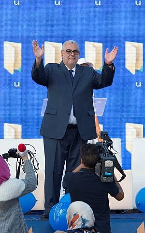 Moroccan Prime Minister and Secretary General of the ruling Islamist Justice and Development Party (PJD), Abdelilah Benkirane gestures during a party meeting in Sale on October 6 , 2016 ahead of the next day's parliamentary election. (AFP PHOTO / FADEL SENNA)
