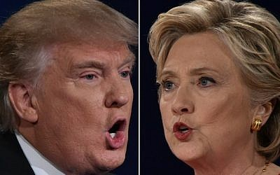 Republican presidential nominee Donald Trump, left, and Democratic presidential nominee Hillary Clinton facing off during the first presidential debate at Hofstra University in Hempstead, New York, September 26, 2016. (AFP/Paul J. Richards)
