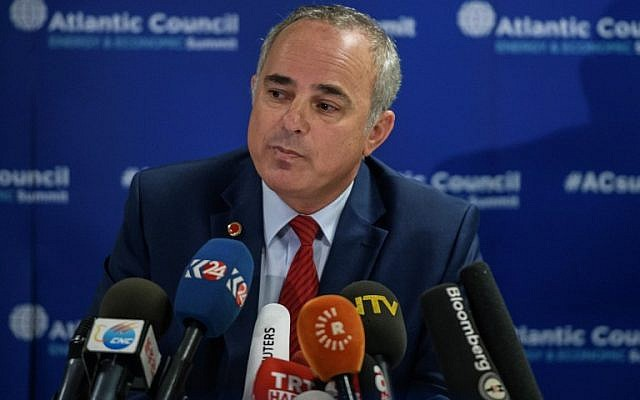 Energy Minister Yuval Steinitz listens to questions during a press conference at the 23rd World Energy Congress on October 13, 2016 in Istanbul. (AFP/OZAN KOSE)