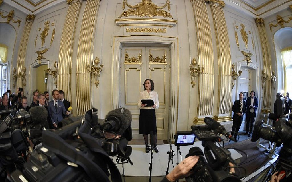 Sara Danius, Permanent Secretary of the Swedish Academy, gives a press conference to announce the laureate of the 2016 Nobel Prize in Literature at the Swedish Academy in Stockholm, Sweden, on October 13, 2016. (AFP/ JONATHAN NACKSTRAND)