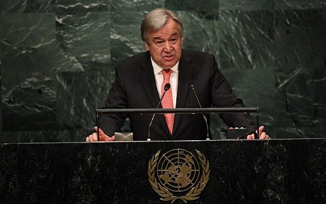UN Secretary-General-designate Antonio Guterres speaks during the ceremony for the appointment of the Secretary-General during the 70th session of the General Assembly October 13, 2016 at the United Nations in New York. (AFP PHOTO / Jewel SAMAD)