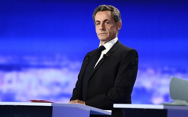 Former French president and candidate for the right-wing Les Republicains (LR) party primaries Nicolas Sarkozy takes part in the first televised debate between the seven candidates for France's right-wing presidential nomination ahead of the 2017 presidential election, on October 13, 2016 at the studios of French private television channel TF1 in La Plaine-Saint-Denis, north of Paris. (AFP /Martin Bureau)