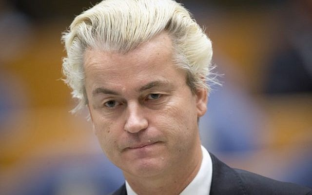 This photo taken on December 18, 2014 shows Dutch far-right Dutch MP Geert Wilders standing at the Parliament building in The Hague. (AFP PHOTO / ANP / Evert-Jan Daniels)