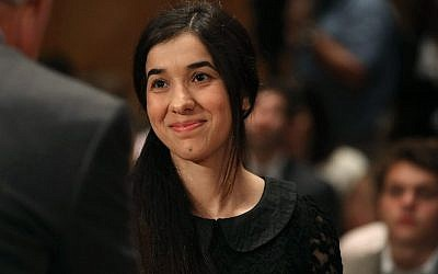 Nadia Murad, human rights activist, testifying during a Senate Homeland Security and Governmental Affairs Committee hearing on Capitol Hill, in Washington, DC, June 21, 2016 (AFP PHOTO / GETTY IMAGES NORTH AMERICA / MARK WILSON)