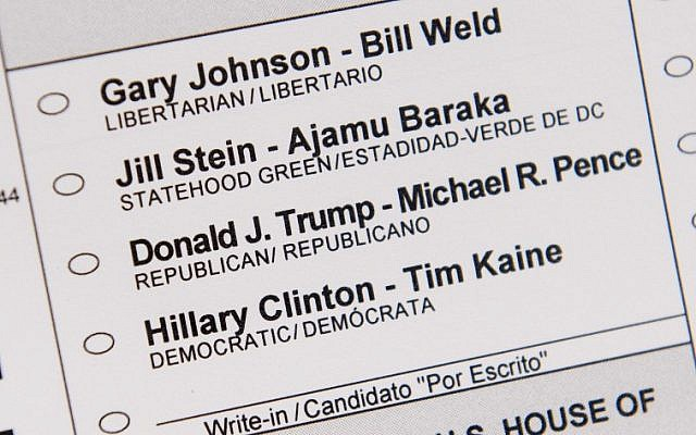An absentee ballot featuring voting options for the US presidential election, including Republican presidential nominee Donald Trump and Democratic presidential nominee Hillary Clinton, among others, as seen in Washington, DC, October 27, 2016. (AFP PHOTO)