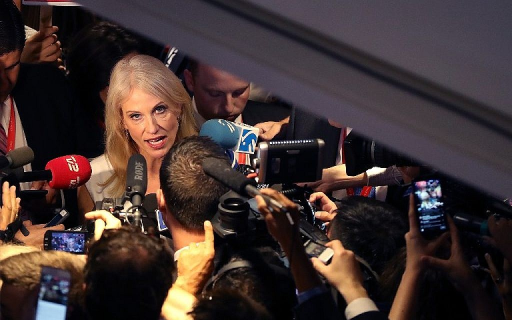 Kellyanne Conway, campaign manager for Donald Trump, talks with reporters in the spin room following the second presidential debate with democratic presidential nominee Hillary Clinton and republican presidential nominee Trump at Washington University on October 9, 2016 in St. Louis, Missouri. (Justin Sullivan/Getty Images/AFP)