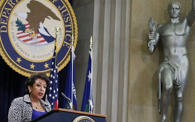 US Attorney General Loretta Lynch speaks during the annual Justice Department Hispanic Heritage Month program, at the Justice Department in Washington, DC, October 11, 2016. (Mark Wilson/Getty Images/AFP)