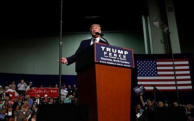 Republican presidential candidate Donald Trump speaks to supporters at a rally on October 14, 2016 at the Charlotte Convention Center in Charlotte, North Carolina. (Brian Blanco/Getty Images/AFP)