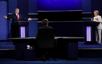 Democratic presidential nominee Hillary Clinton, right, debates with Republican presidential nominee Donald Trump during the third US presidential debate at the Thomas & Mack Center on October 19, 2016 in Las Vegas, Nevada. (Chip Somodevilla/Getty Images/AFP)
