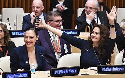 Actors Gal Gadot and Lynda Carter attend the Wonder Woman UN Ambassador Ceremony at United Nations on October 21, 2016 in New York City.   (Dimitrios Kambouris/Getty Images/AFP)