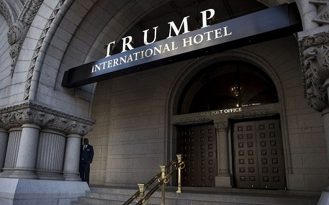 The entrance to the new Trump International Hotel at the old post office in Washington, DC, October 26, 2016. (Gabriella Demczuk/Getty Images/AFP)