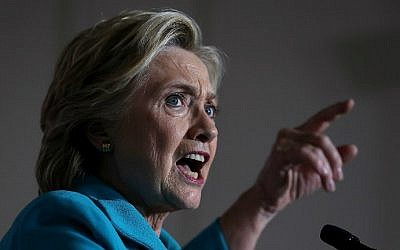 Democratic presidential nominee Hillary Clinton speaks during a campaign rally at Dickerson Community Center on October 29, 2016 in Daytona Beach, Florida. (Justin Sullivan/Getty Images/AFP)