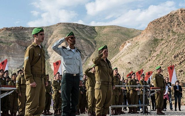 The male and female soldiers of the Jordan Valley Lions Battalion during a swearing-in ceremony on February 18, 2015. (IDF Spokesperson's Unit/Flickr)