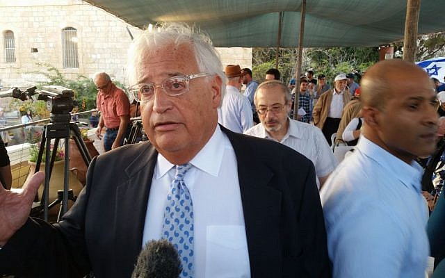 David Friedman, Donald Trump's Israel envoy-nominee, speaking to reporters at a pro-Trump event in Jerusalem, October 26, 2016. (Raphael Ahren/Times of Israel)